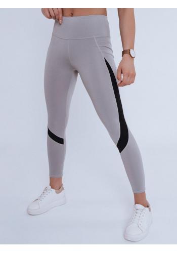 Sportovní dámské legíny šedé barvy s vysokým pasem