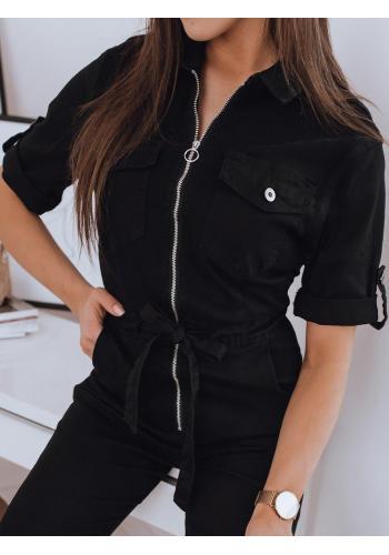 Dámský stylový overal s vázáním v pase v černé barvě