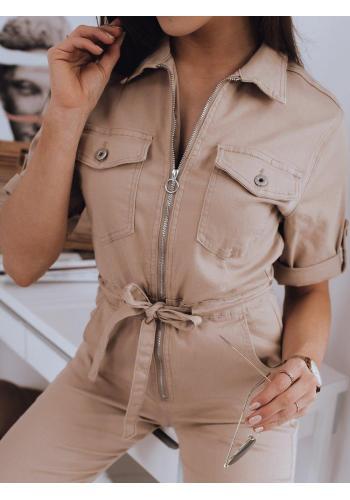 Béžový stylový overal s vázáním v pase pro dámy