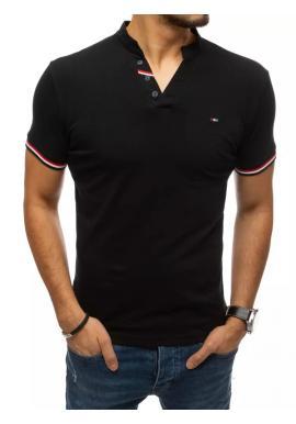 Pánské stylové tričko s ozdobnými knoflíky v černé barvě