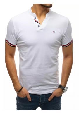 Stylové pánské tričko bílé barvy s ozdobnými knoflíky