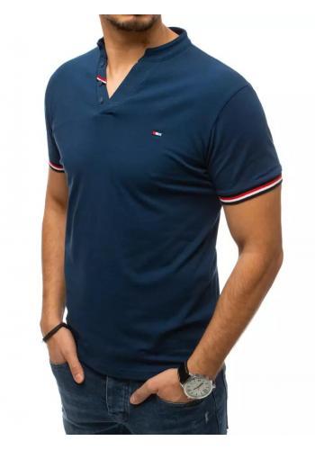 Modré stylové tričko s ozdobnými knoflíky pro pány