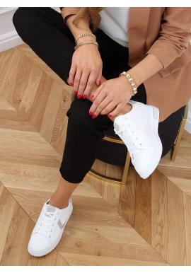 Klasické dámské tenisky bílo-šedé barvy se semišovými doplňky