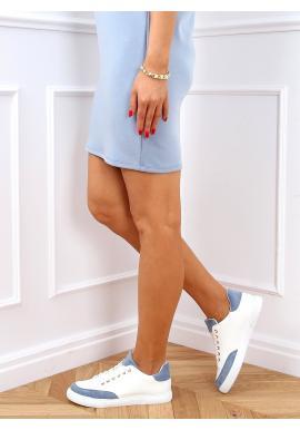 Dámské klasické tenisky se semišovými vložkami v bílo-modré barvě