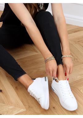 Módní dámské tenisky bílo-černé barvy se semišovými doplňky