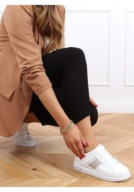 Bílo-šedé módní tenisky se semišovými doplňky pro dámy