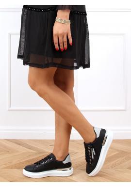 Dámské stylové tenisky s třpytivými vložkami v černé barvě