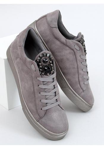 Dámské semišové tenisky s kamínky v šedé barvě