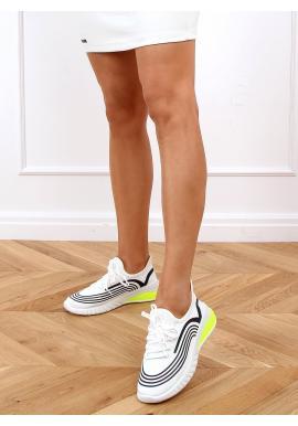 Dámské sportovní tenisky s kontrastními vložkami v bílé barvě