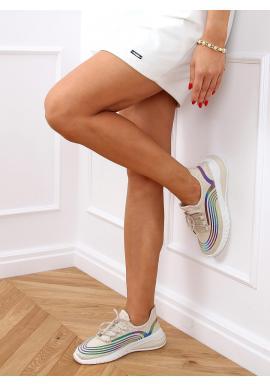 Béžové sportovní tenisky s kontrastními vložkami pro dámy