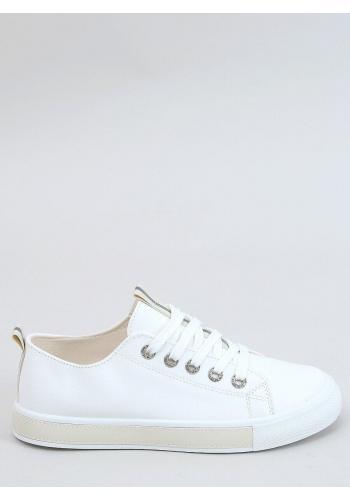 Lícové dámské tenisky bílo-béžové barvy