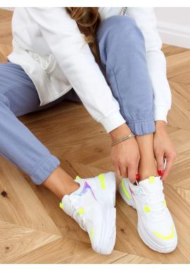 Módní dámské tenisky bílo-žluté barvy s holografickými doplňky