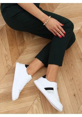 Bílo-černé klasické tenisky s třpytivými vložkami pro dámy