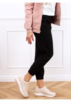 Dámské módní tenisky na skrytém podpatku v růžové barvě