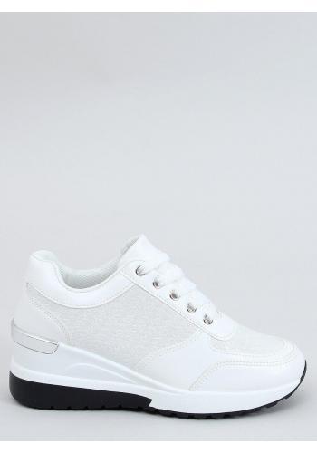 Bílé módní tenisky na skrytém podpatku pro dámy