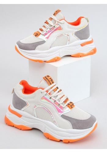 Béžovo-oranžové stylové tenisky s vysokou podrážkou pro dámy