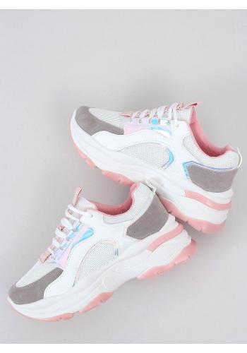 Dámské stylové tenisky s vysokou podrážkou v bílo-růžové barvě