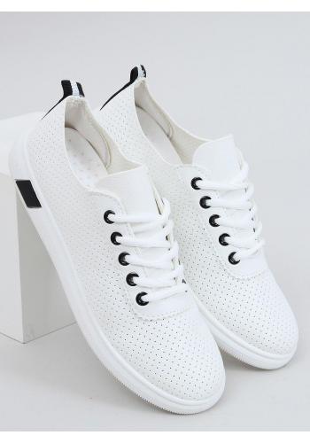 Pohodlné dámské tenisky bílo-černé barvy s děrovanou texturou