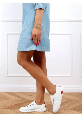 Bílo-červené pohodlné tenisky s děrovanou texturou pro dámy