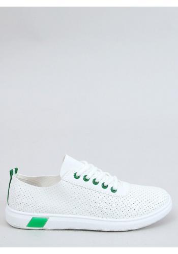Dámské pohodlné tenisky s děrovanou texturou v bílo-zelené barvě