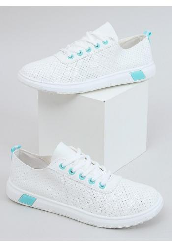 Pohodlné dámské tenisky bílo-modré barvy s děrovanou texturou