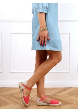 Malinové krajkové espadrilky pro dámy