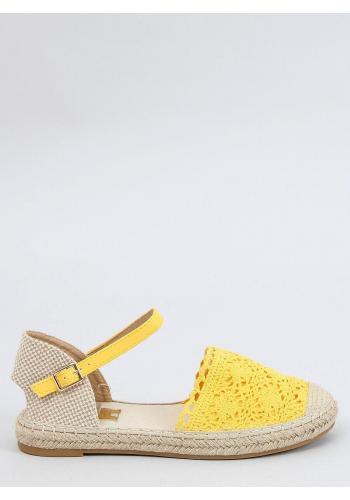 Dámské krajkové espadrilky ve žluté barvě