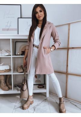 Dámský klasický kabát s jedním knoflíkem v růžové barvě