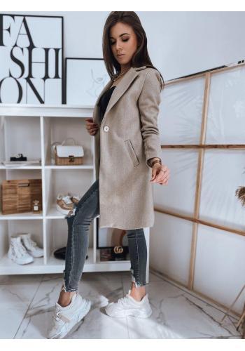 Klasický dámský kabát béžové barvy s jedním knoflíkem