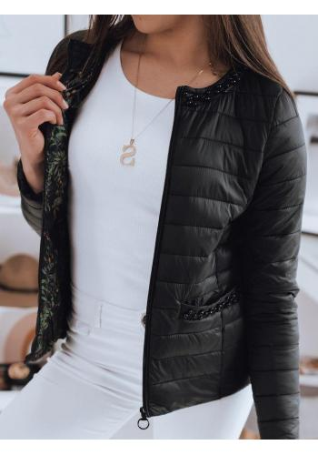 Dámská prošívaná bunda s ozdobnými perlami v černé barvě