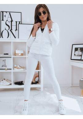 Prošívaná dámská bunda bílé barvy s ozdobnými perlami