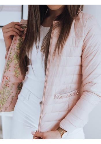 Růžová prošívaná bunda s ozdobnými perlami pro dámy