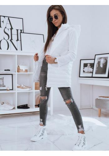 Dámská delší prošívaná vesta s kapucí v bílé barvě