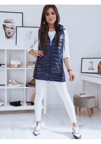 Modrá delší prošívaná vesta s kapucí pro dámy