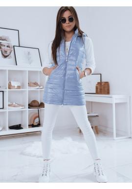 Světle modrá delší prošívaná vesta s kapucí pro dámy