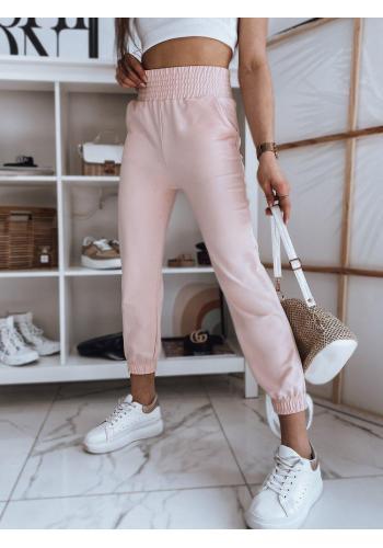 Dámské pohodlné tepláky s vysokým pasem v růžové barvě