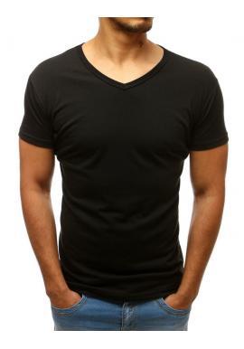 Pánské klasické tričko s výstřihem ve tvaru V v černé barvě
