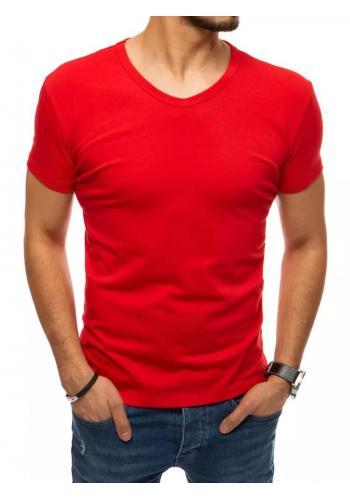 Pánské klasické tričko s véčkovým výstřihem v červené barvě