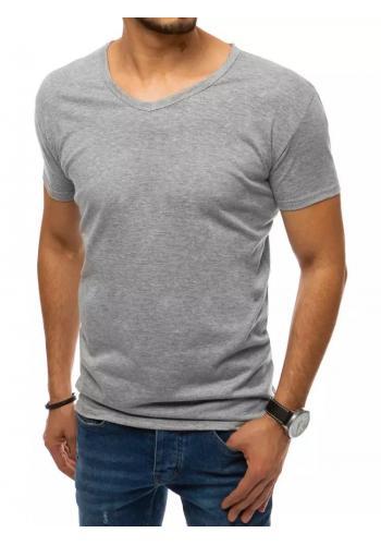 Světle šedé klasické tričko s véčkovým výstřihem pro pány