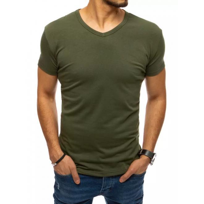 Pánské klasické tričko s véčkovým výstřihem v khaki barvě