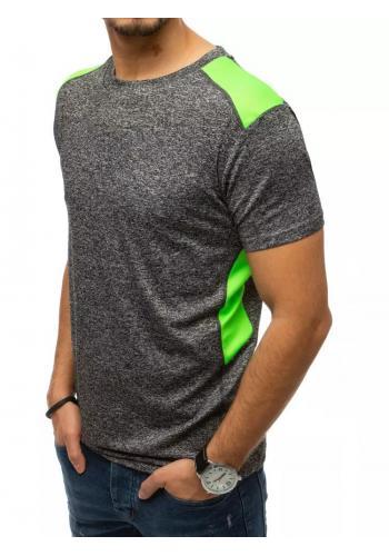 Sportovní pánské tričko tmavě šedé barvy s kontrastními vložkami
