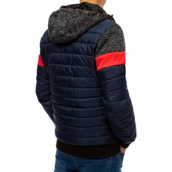 Pánské prošívané bundy s kapucí v tmavě modré barvě