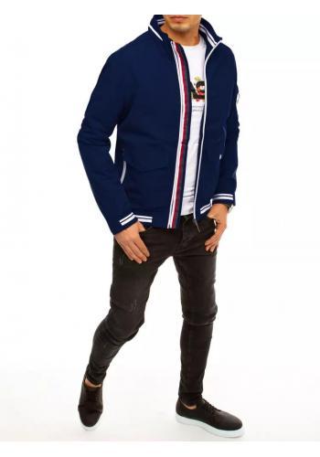 Přechodná pánská bunda tmavě modré barvy se stojáčkem