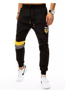 Pánské módní tepláky s ozdobnými vložkami v černé barvě