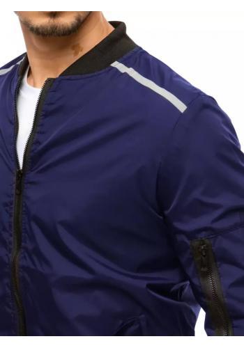 Přechodná pánská bunda tmavě modré barvy s reflexními doplňky