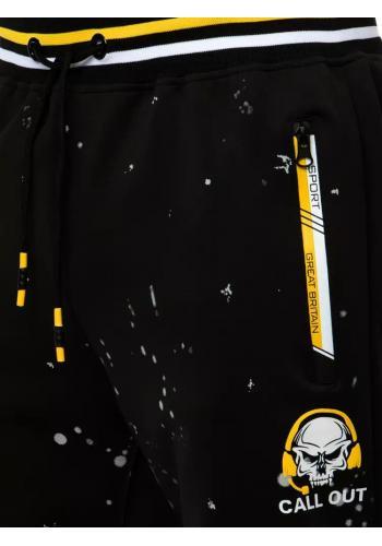 Pánské sportovní tepláky s potiskem v černé barvě