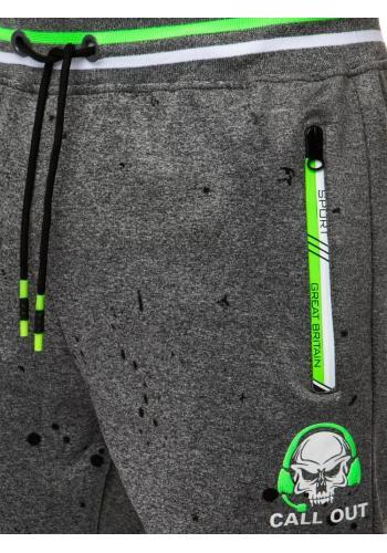 Sportovní pánské tepláky tmavě šedé barvy s potiskem