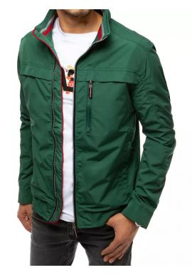 Pánská přechodná bunda bez kapuce v zelené barvě