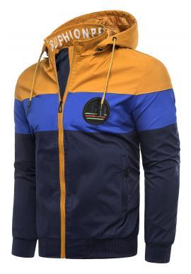 Pánská přechodná bunda s odepínací kapucí ve velbloudí barvě