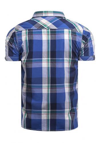 Pánská károvaná košile s krátkým rukávem v modré barvě